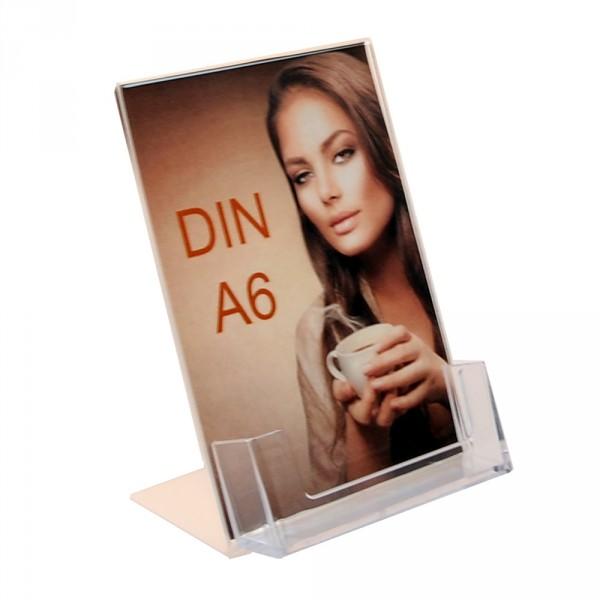 Premiumaufsteller DIN A6 mit Visitenkartenhalter