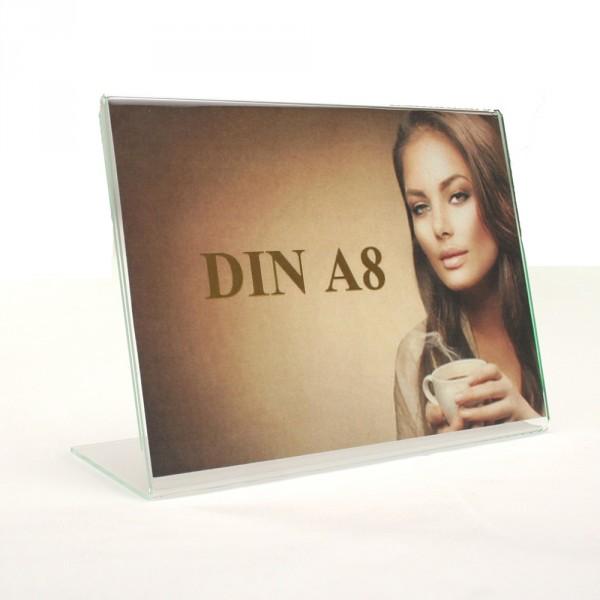 Tischaufsteller Acryl L-Form geneigt DIN A8 Querformat