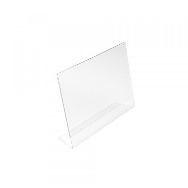 Tischaufsteller L-Form geneigt DIN A8 Querformat
