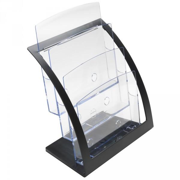 Prospektständer Temporary 3 Etagen DIN A4 - schwarz