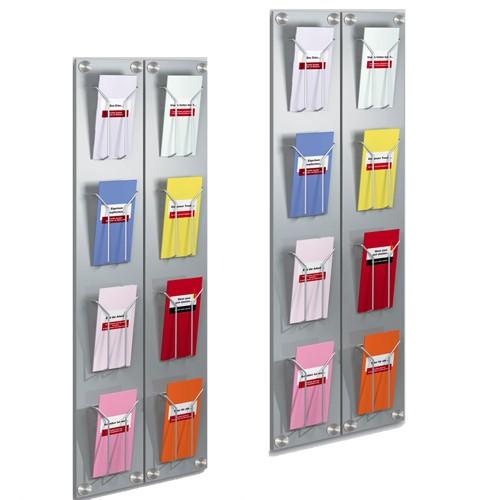 Wand - Prospekthalter artline 4 Fächer DIN lang