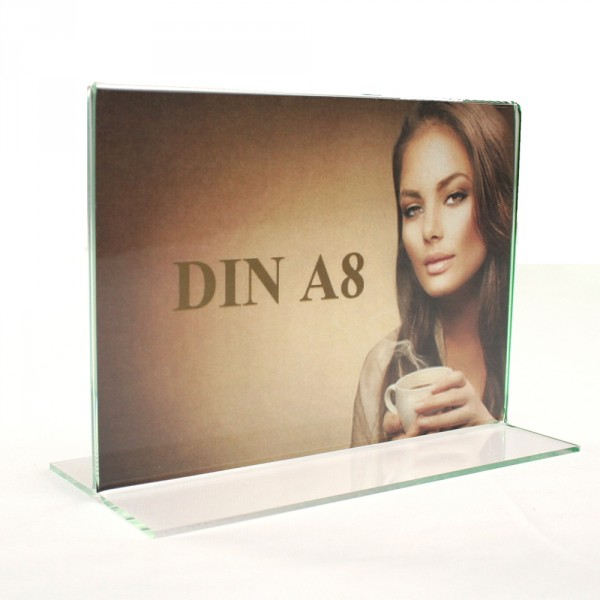 Tischaufsteller Acryl T-Form DIN A8 Querformat