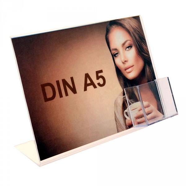 Premiumaufsteller DIN A5 Querformat mit Visitenkartenhalter Hochformat