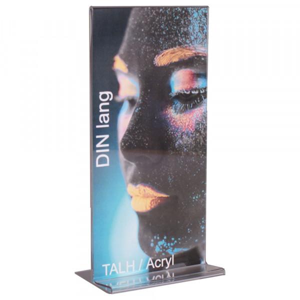 Tischaufsteller Acryl T-Form DIN lang ECO