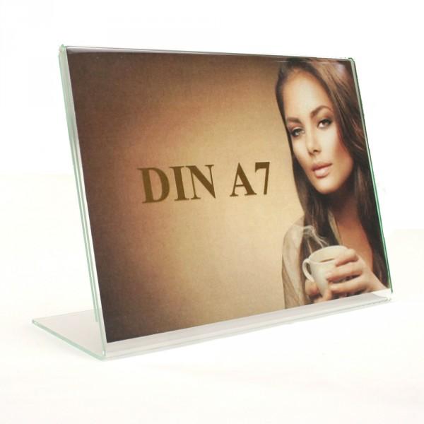 Tischaufsteller Acryl L-Form geneigt DIN A7 Querformat