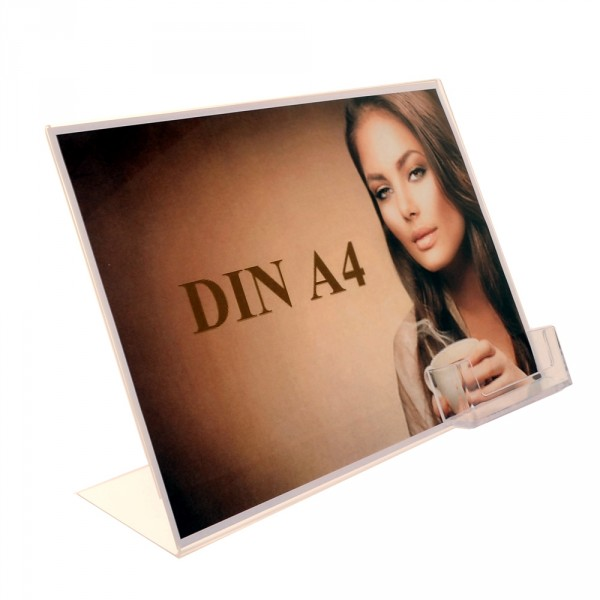 Premiumaufsteller DIN A4 Querformat mit Visitenkartenhalter Poly