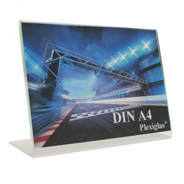 Plexiglas® Tischaufsteller L-Form schräg - DIN A4 Querformat