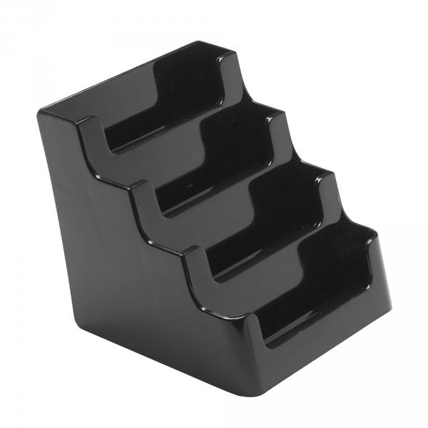 Visitenkartenhalter Modern 4 Etagen - 4 Fächer schwarz