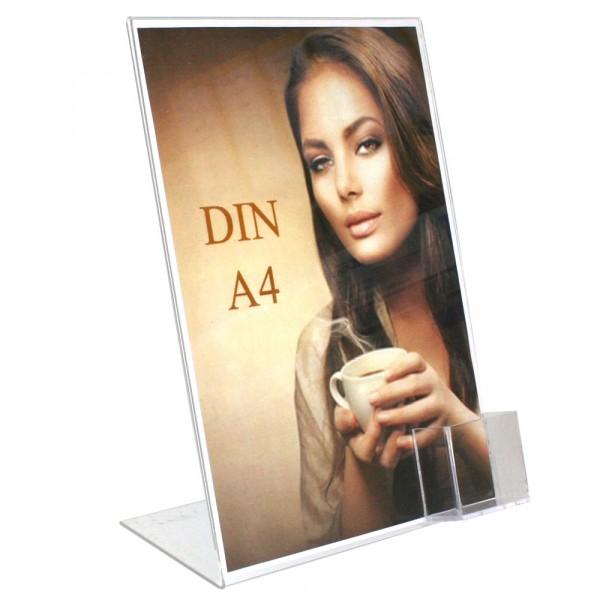 Premiumaufsteller DIN A4 mit Visitenkartenfach Hochformat