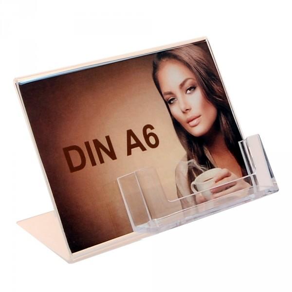 Premiumaufsteller DIN A6 Querformat mit Visitenkartenhalter
