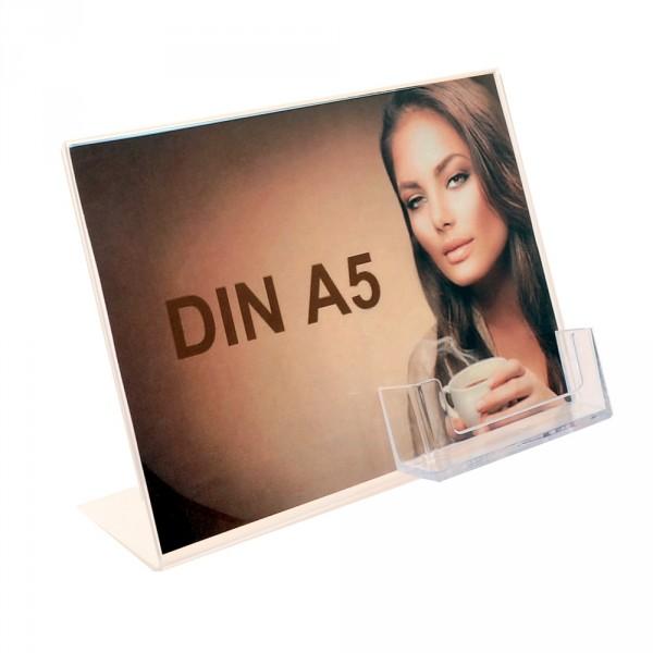 Premiumaufsteller DIN A5 Querformat mit Visitenkartenhalter