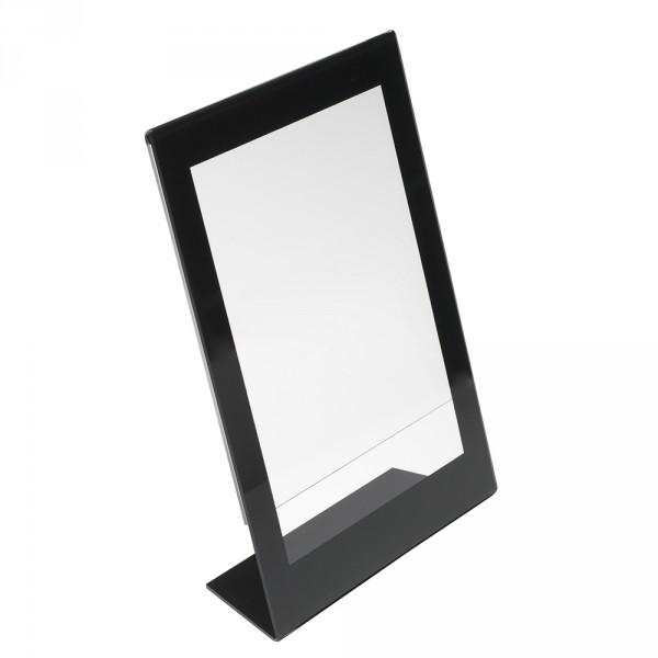 Tischaufsteller mit schwarzem Rahmen DIN A4
