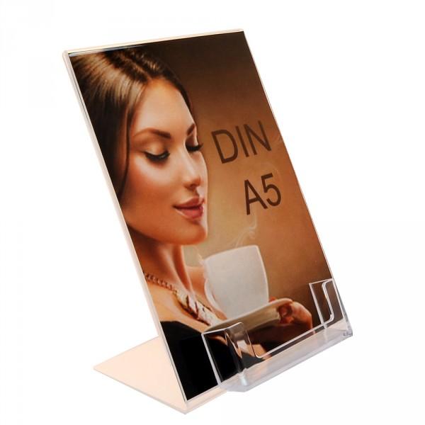 Premiumaufsteller DIN A5 mit Visitenkartenhalter