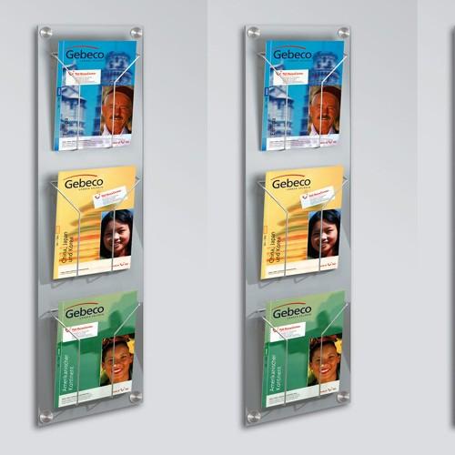 Wand - Prospekthalter artline 3 Fächer DIN A4