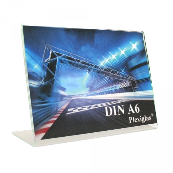 Plexiglas® Tischaufsteller L-Form schräg - DIN A6 Querformat