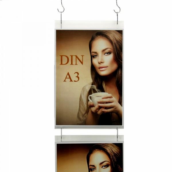 Wanddisplay Einzelblatt DIN A3 Hochformat in Endlos-Hängung