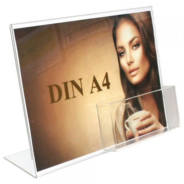 Premiumaufsteller DIN A4 Querformat mit Box DIN A6 Querformat