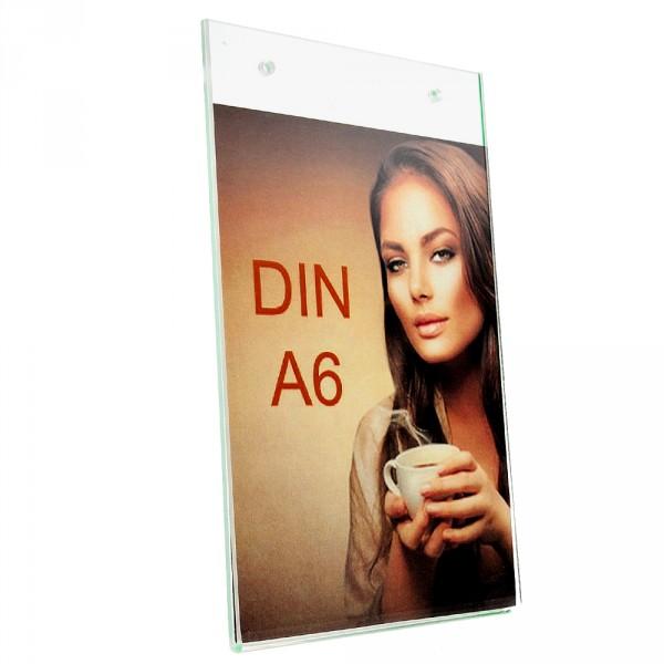 Wanddisplay Einzelblatt DIN A6 Löcher durchgehend Hochformat