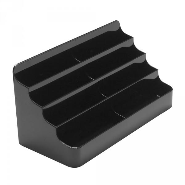 Visitenkartenhalter Modern 4 Etagen - 8 Fächer schwarz