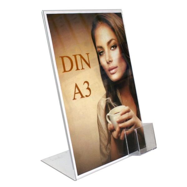 Premiumaufsteller DIN A3 mit Visitenkartenbox Hochformat