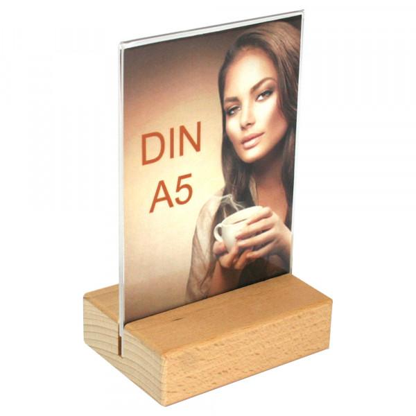 Tischaufsteller DIN A5 mit Holzfuß