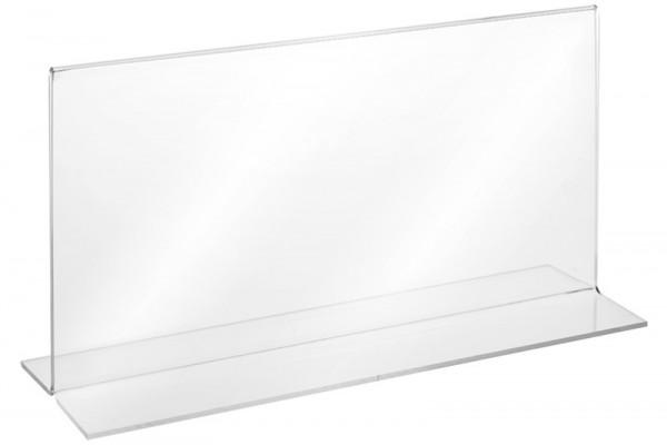 Tischaufsteller Acryl T-Form DIN lang Querformat