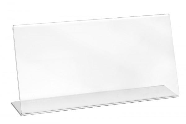 Tischaufsteller Acryl L-Form geneigt, DIN lang, Querformat