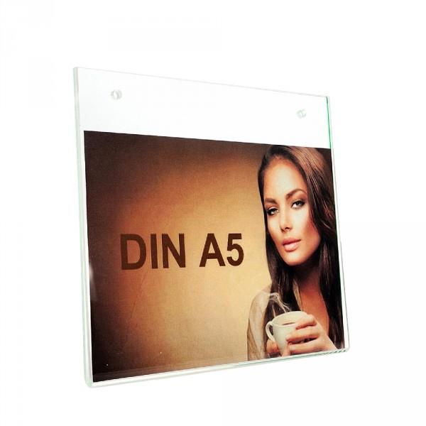 Wanddisplay Einzelblatt DIN A5 Löcher durchgehend Querformat