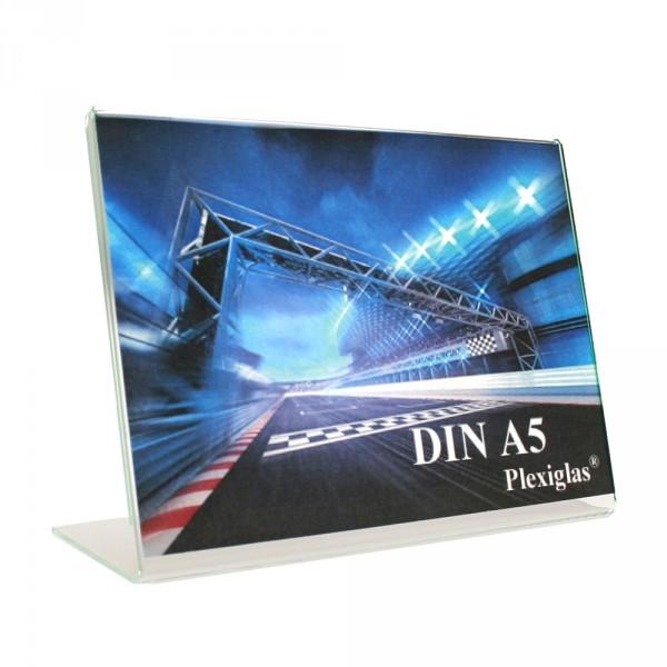 Plexiglas® Tischaufsteller L-Form schräg - DIN A5 Querformat