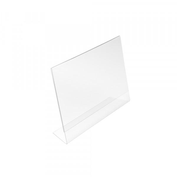 Tischaufsteller L-Form geneigt DIN A7 Querformat