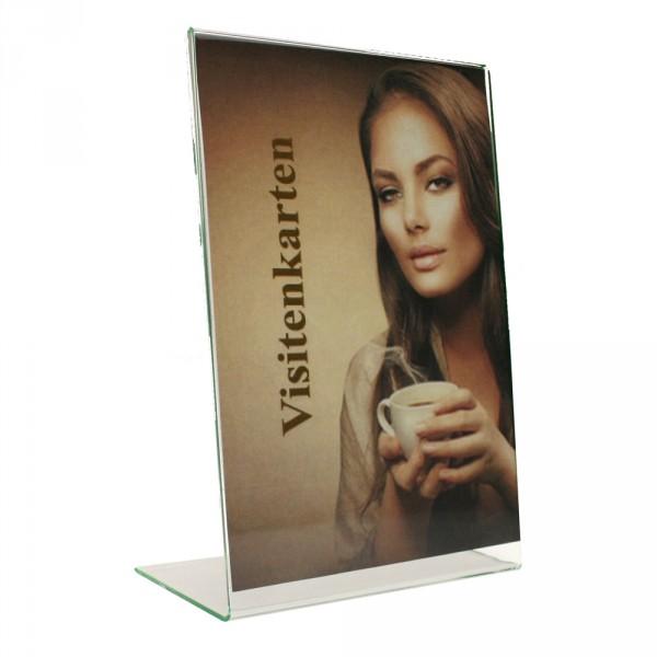 Tischaufsteller Acryl L-Form geneigt, Visitenkarten hoch