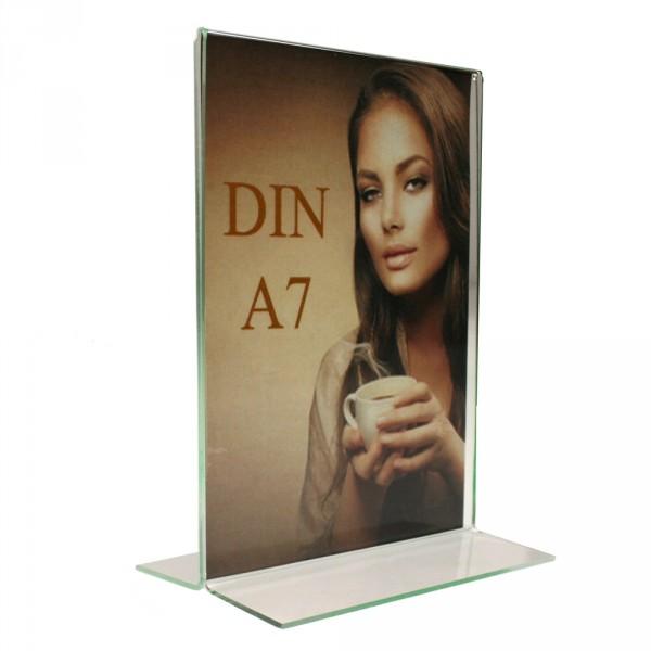 Tischaufsteller Acryl T-Form DIN A7