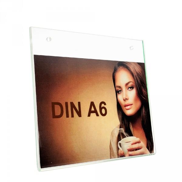 Wanddisplay Einzelblatt DIN A6 Löcher durchgehend Querformat
