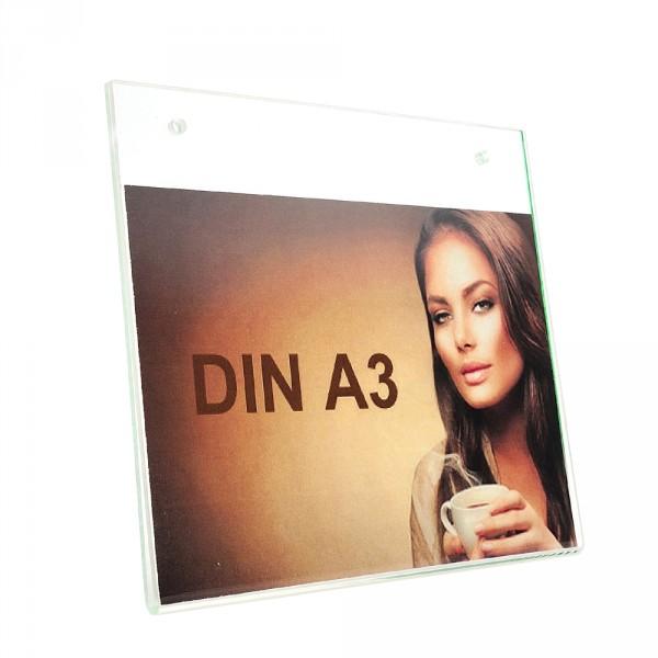 Wanddisplay Einzelblatt DIN A3 Löcher durchgehend Querformat