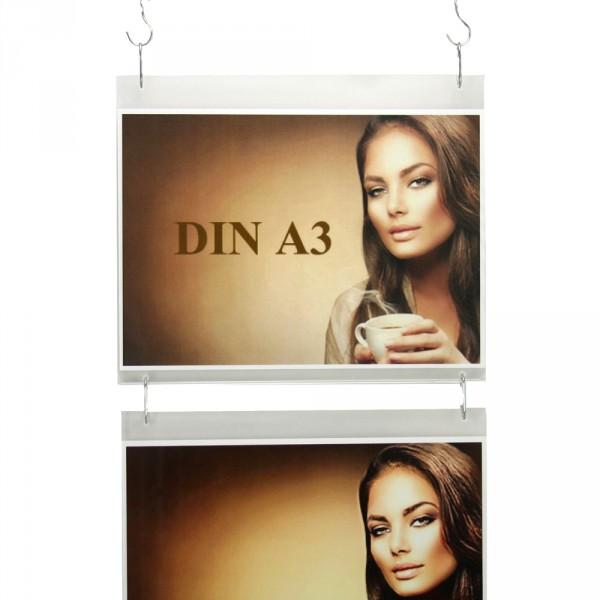 Wanddisplay Einzelblatt DIN A3 Querformat in Endlos-Hängung