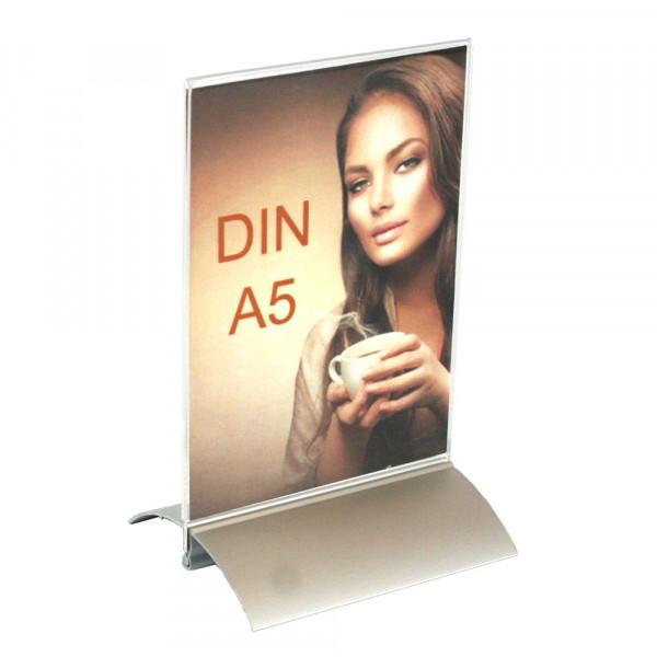 Tischaufsteller DIN A5 mit Aluminiumfuß