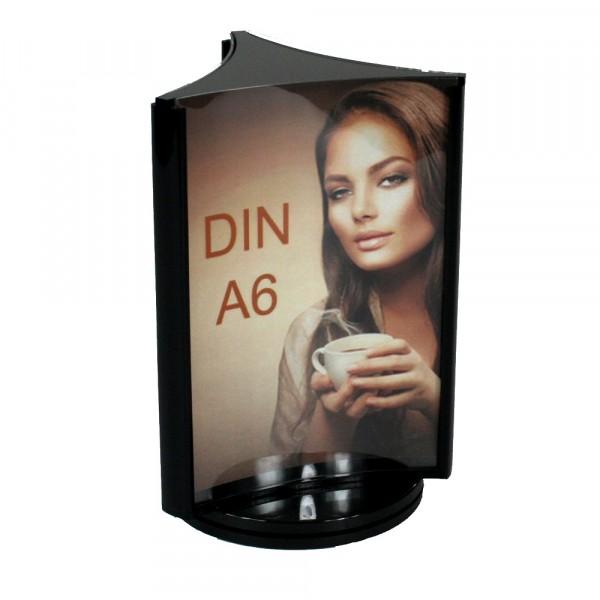 Drehbarer Werbeaufsteller 3-fach DIN A6 Dreiecks-Form