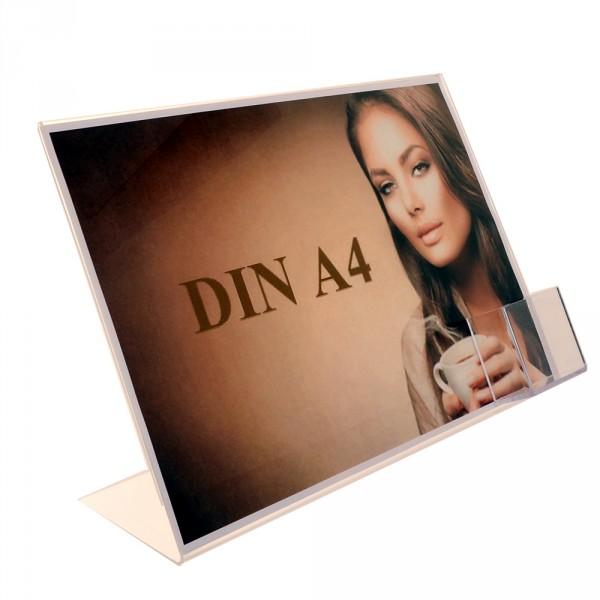 Premiumaufsteller DIN A4 Querformat mit Visitenkartenhalter Hochformat
