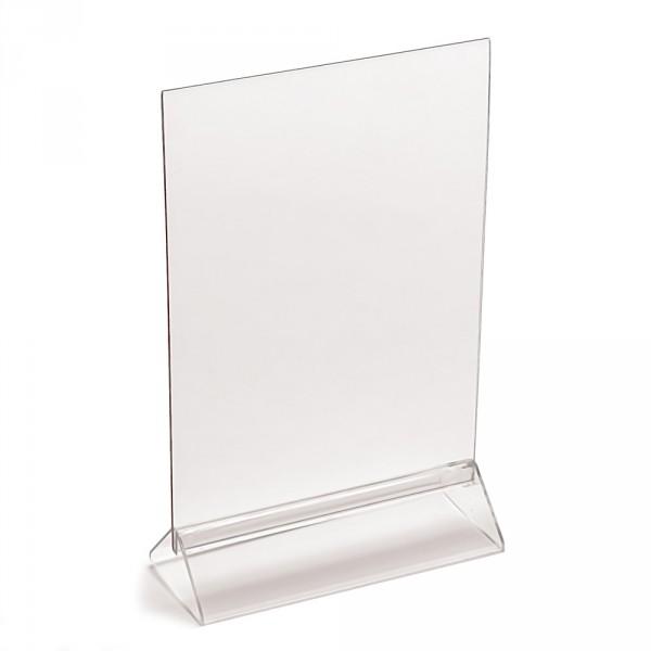 Tischaufsteller Taymar® T-Form DIN A4 mit Standfuss hoch und quer
