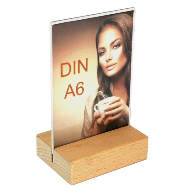 Tischaufsteller DIN A6 mit Holzfuß