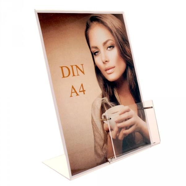 Premiumaufsteller DIN A4 mit Box DIN lang Acryl