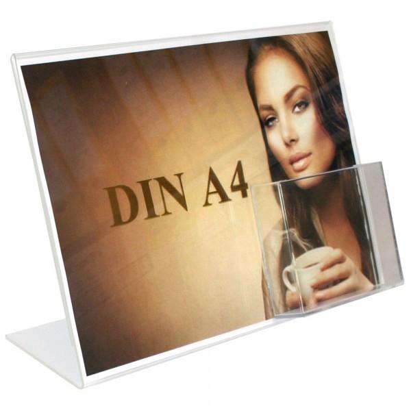 Premiumaufsteller DIN A4 Querformat mit Box DIN lang Poly
