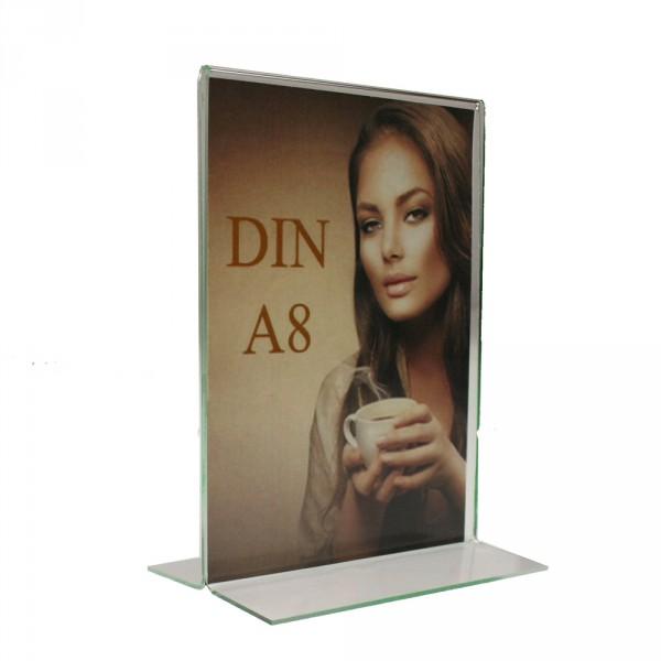 Tischaufsteller Acryl T-Form DIN A8