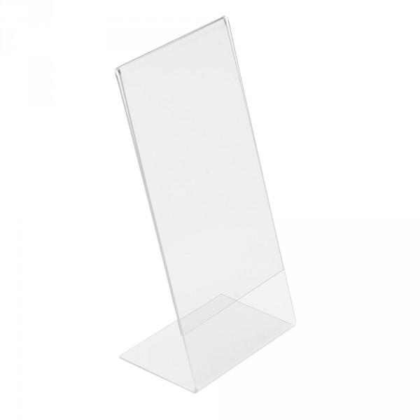 Tischaufsteller Acryl L-Form geneigt, DIN lang