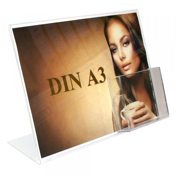 Premiumaufsteller DIN A3 Querformat mit DIN A5 Box Hochformat