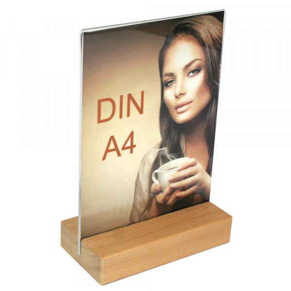 Tischaufsteller DIN A4 mit Holzfuß