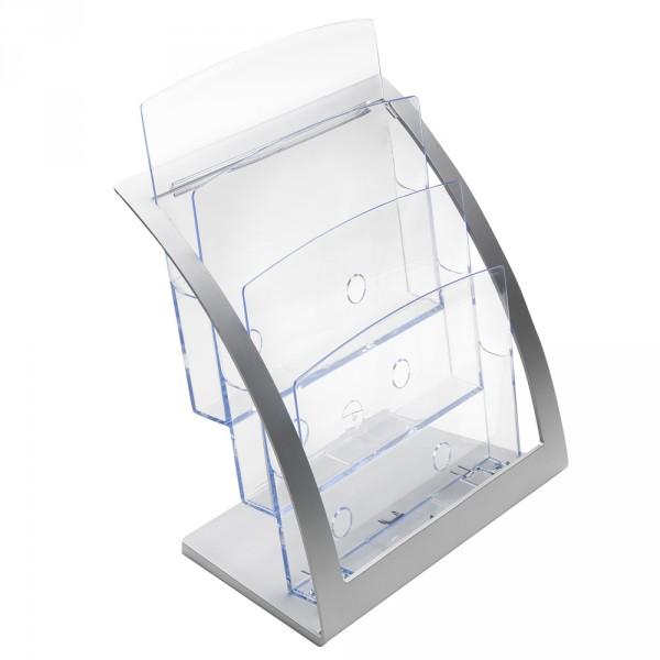 Prospektständer Temporary 3 Etagen DIN A4 - silber