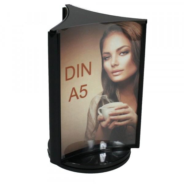 Drehbarer Werbeaufsteller 3-fach DIN A5 Dreiecks-Form
