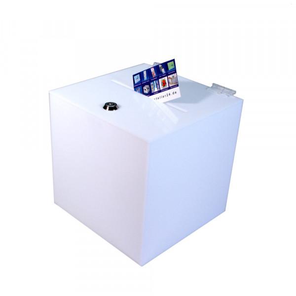 Losbox 20cm Kantenlänge ECO Opal blickdicht mit Schloss