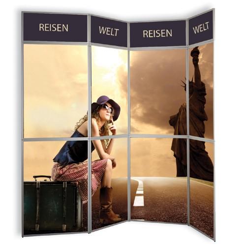 Messe Faltwand mit 15 Grafik-Panelen 350 x 230cm